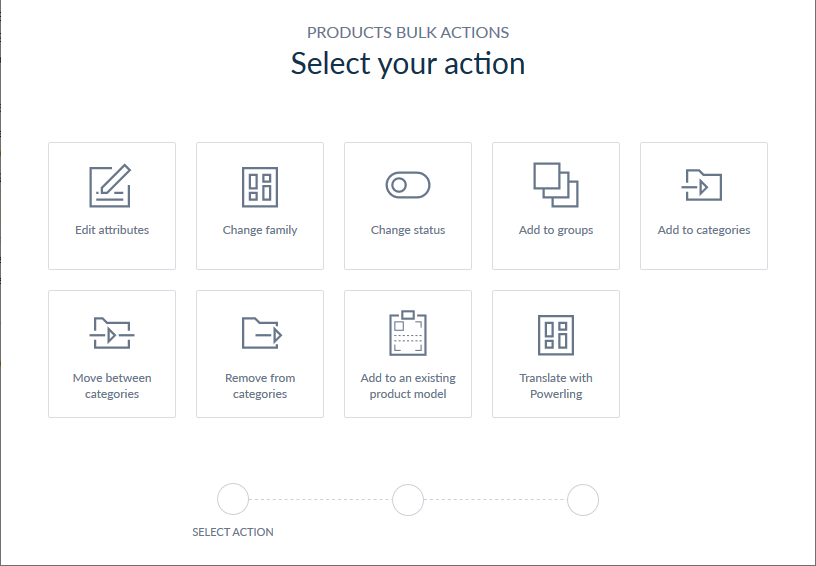 Select an action to do with the selected product